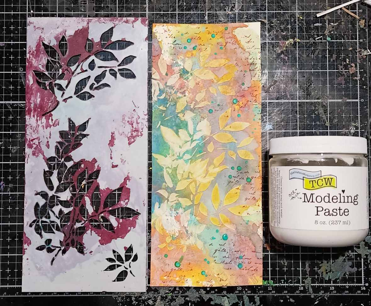 Background texture of a tag. With Distress oxide inks, stencils, stamps and acrylic medium