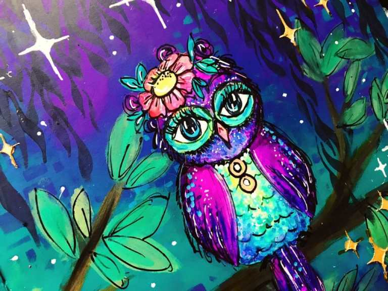 close up of owl - colored with paint