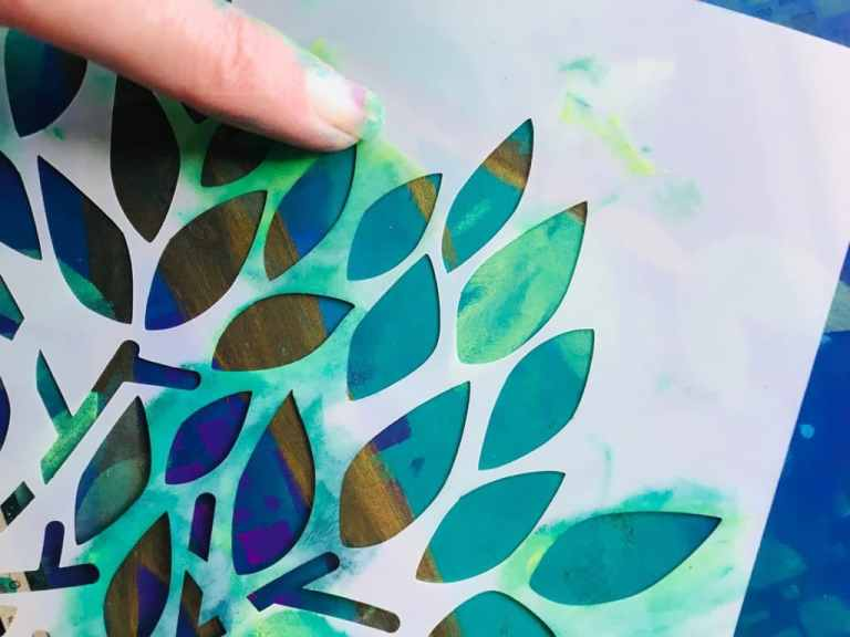adding leaves through a tree stencil