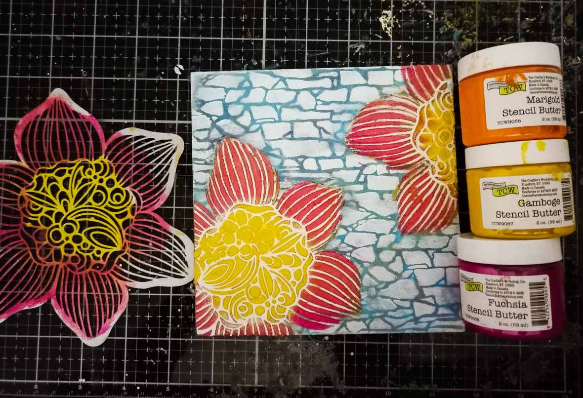 Mixed media, stencil butters, The Crafter's Workshop stencils