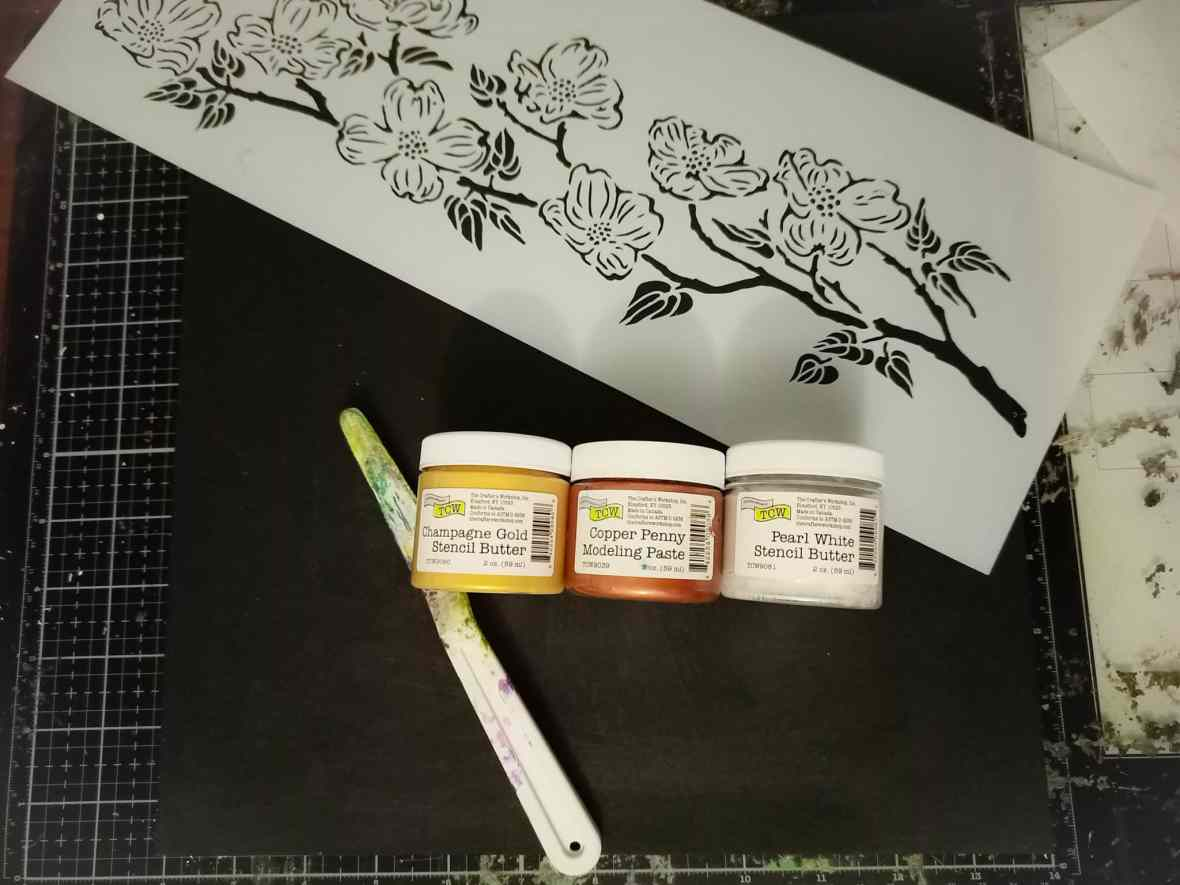 The Crafter's Workshop stencils, modeling pastes, mixed media board