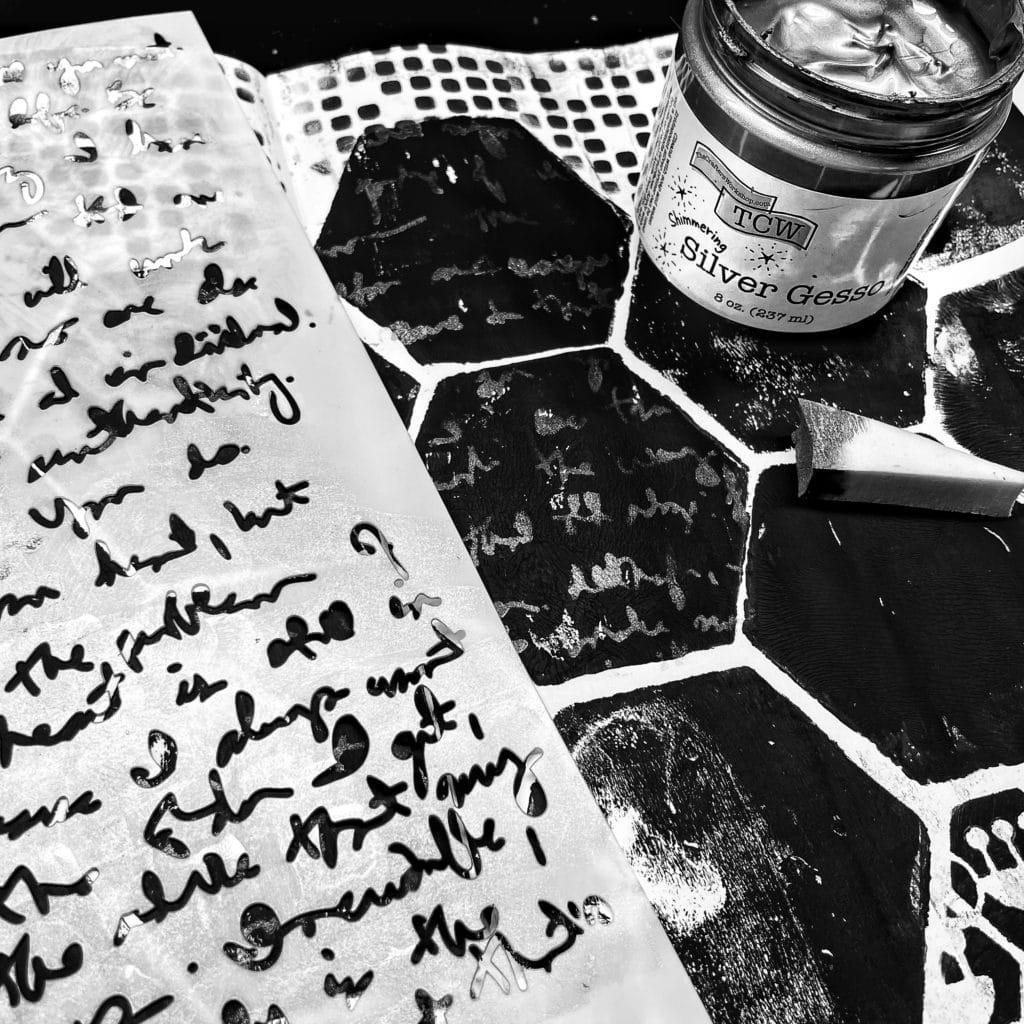 TCW9010 Silver Gesso through 12x12 TCW541 Believe Script Stencil with a sponge