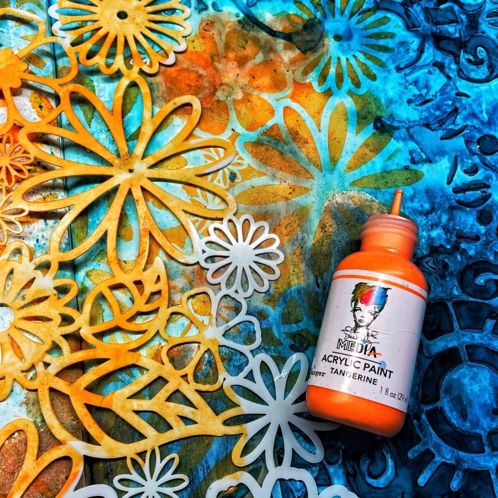 orange acrylic paint through 12x12 TCW157 Flower Frenzy Stencil