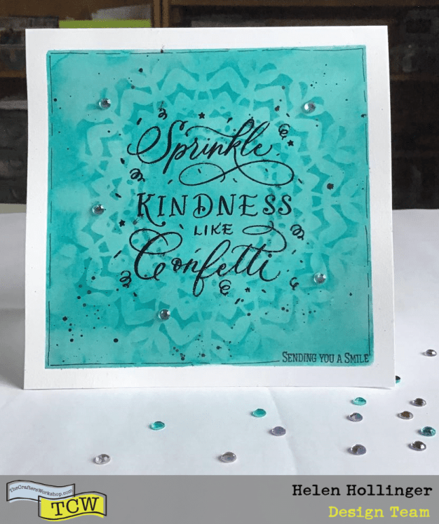 Finished card using ColorSparx and stamping and a stencil.