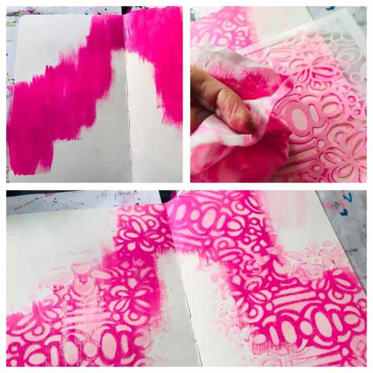 pink paint being removed through stencil