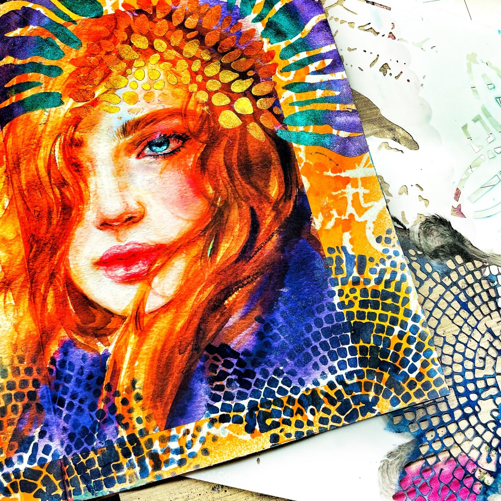 dark blue acrylic paint through 12x12 TCW586 Raven Mosaic Stencil