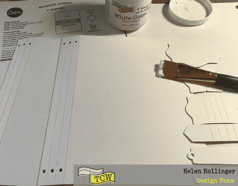 I used TCW9001 White Gesso, and applied a layer over the cover, front and back, as well as a few of the tags as I wasn't sure which I would be using.