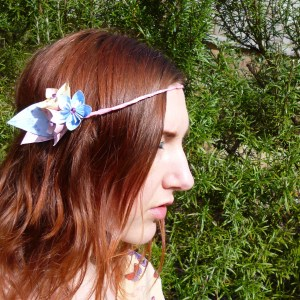Pastel paper flower headdress