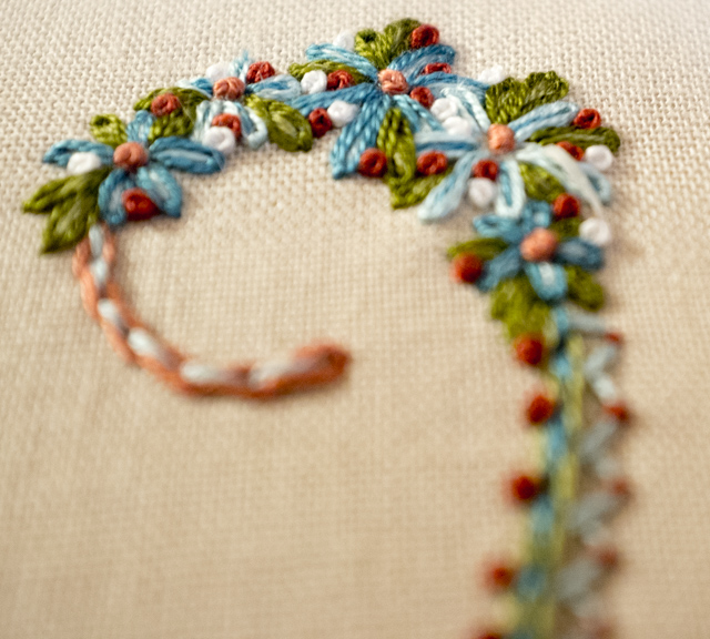 Hand Embroidered Letter W (Mary Corbet)
