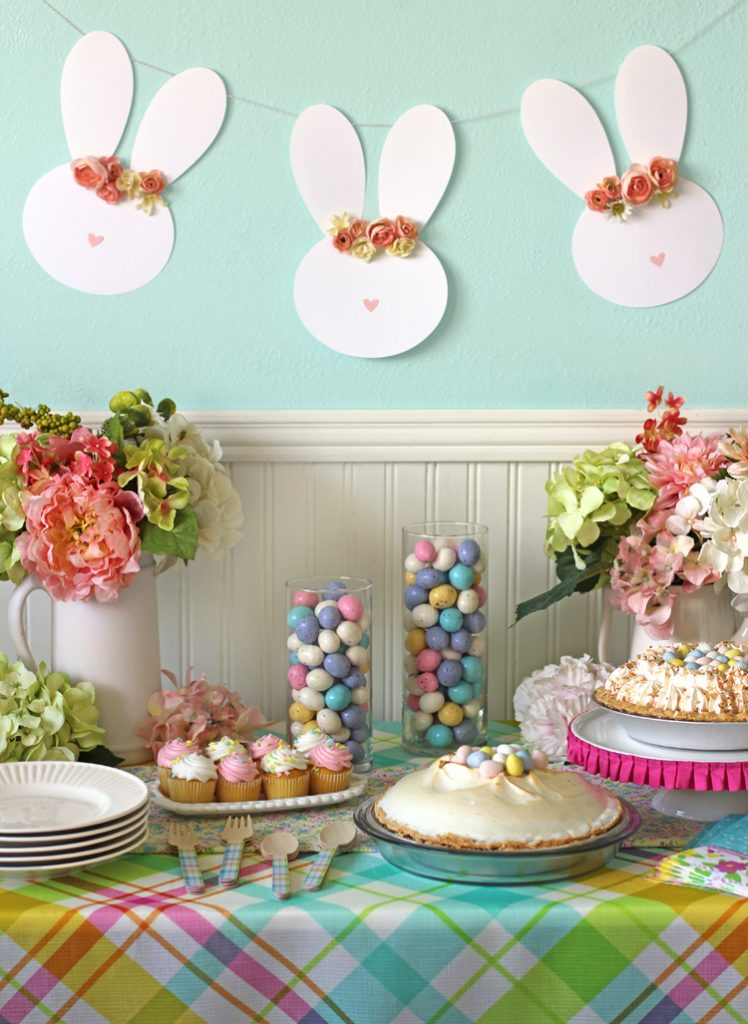Easy Easter Table Decor and a Floral Crown Easter Bunny