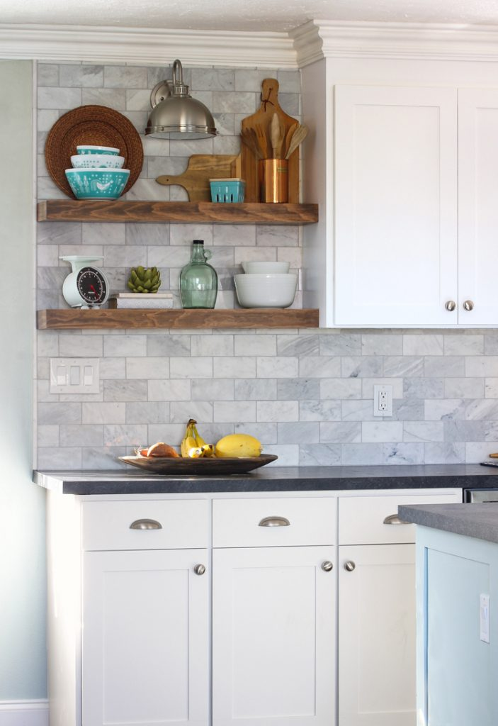 How to Install Floating Kitchen Shelves Over A Tile