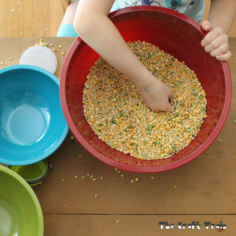 Scoop and pour soup mix messy play
