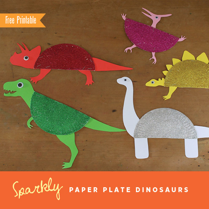 Sparkly paper plate dinosaurs by The Craft Train