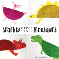 Sparkly Paper Plate Dinosaurs | The Craft Train