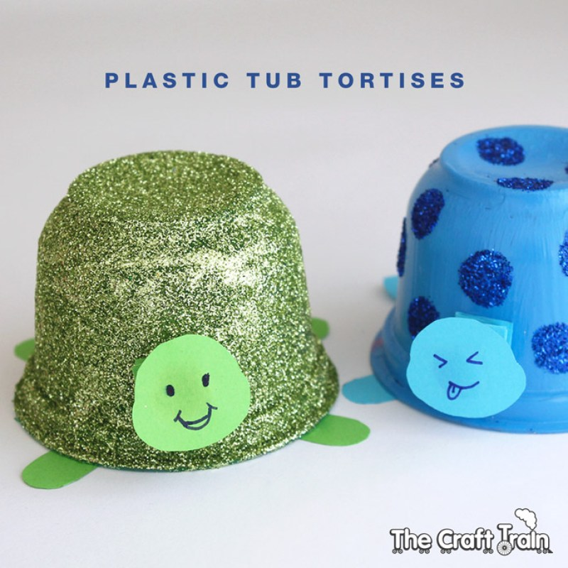 Make cute tortise pets from empty plastic fruit or yoghurt tubs