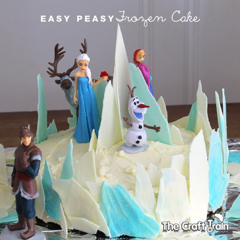 Frozen themed cake that is super duper easy to make