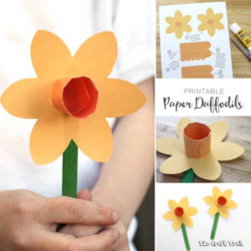 Printable paper daffodil craft