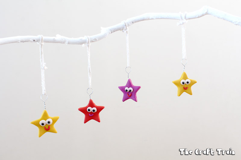 Happy star polymer clay ornaments