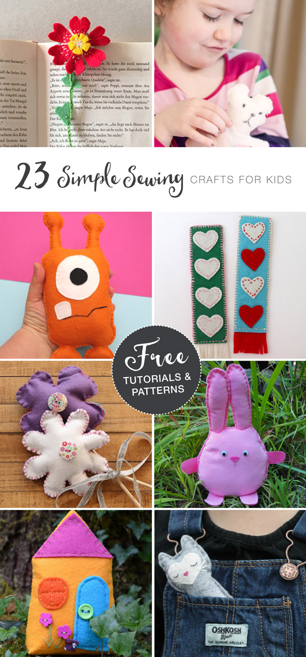 23 easy sewing crafts for kids with Free patterns and tutorials
