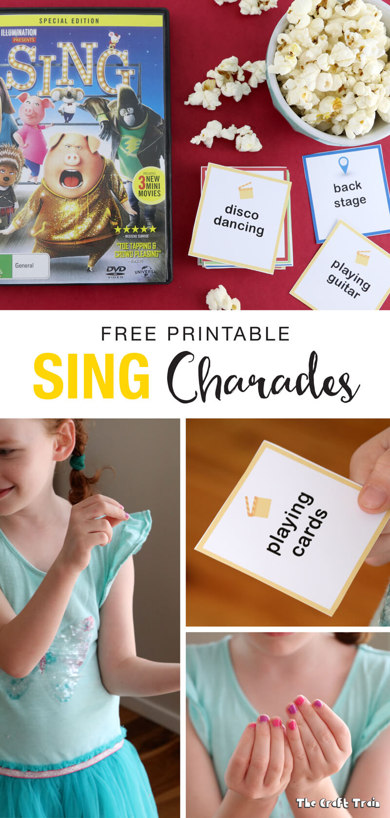 A free set of printable charades cards inspired by the movie SING, now on Blu-ray and DVD. Lots of big belly-laughs guaranteed! {sponsored}