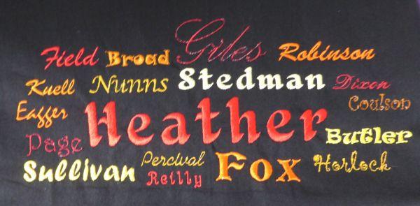 Heather apron close up