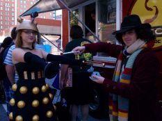 A rather awesome Lady Dalek attacks the Fourth Doctor.