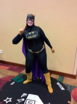Easily the most creative costume at the convention - Batgirl Heroclix!