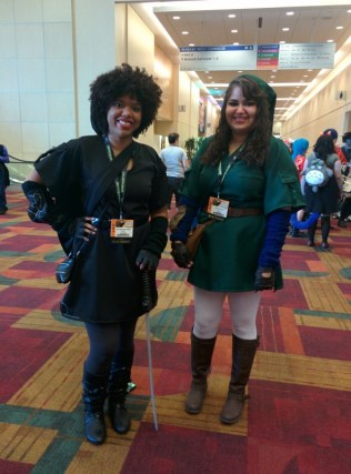 Link and Dark Link. You can't see their shields, but they looked awesome.