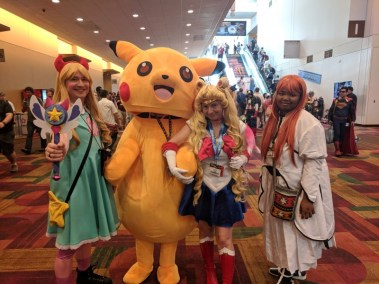 Pikachu! The full-body suit must have been toasty.