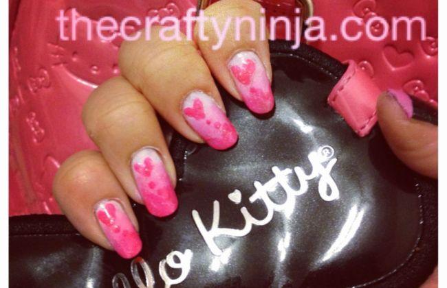 Pink heart gradation to white nail art and polish
