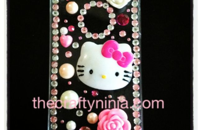 DIY Hello Kitty Rhinestone Bling iPhone 4S case