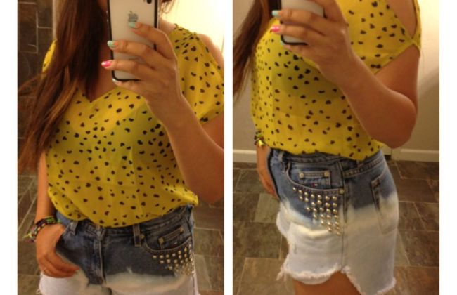 mustard yellow ombre stud jeans