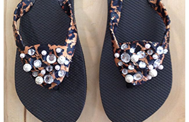 diy leopard flip flop