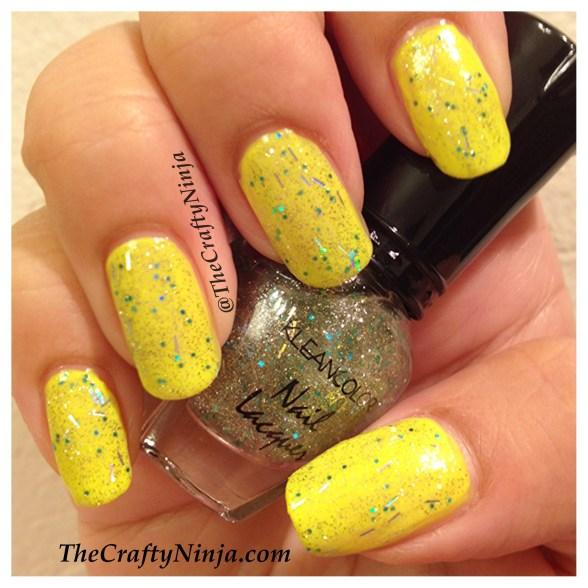 glitter neon yellow nails