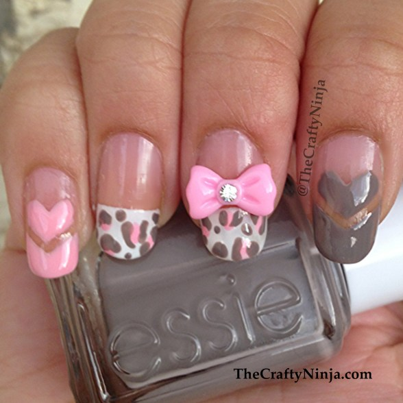 heart leopard nails