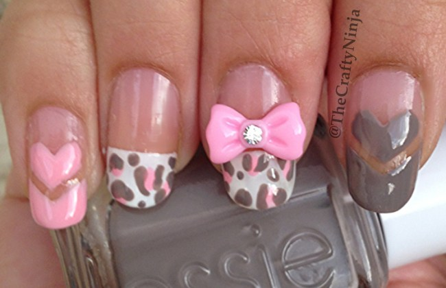 heart leopard nails