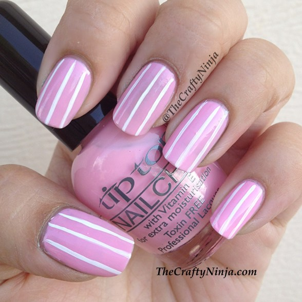 pink stripe nails