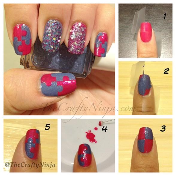 diy puzzle nails