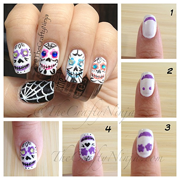 diy sugar skull nails