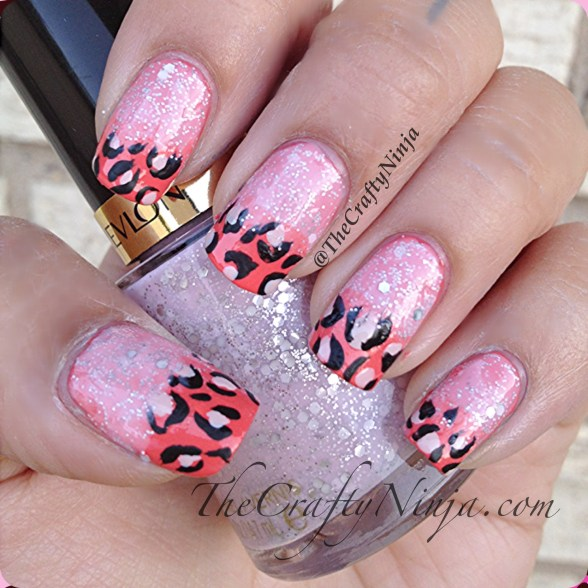 glitter coral leopard nails