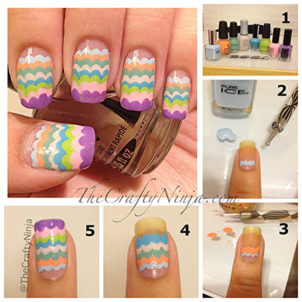 diy scallop pastel nails