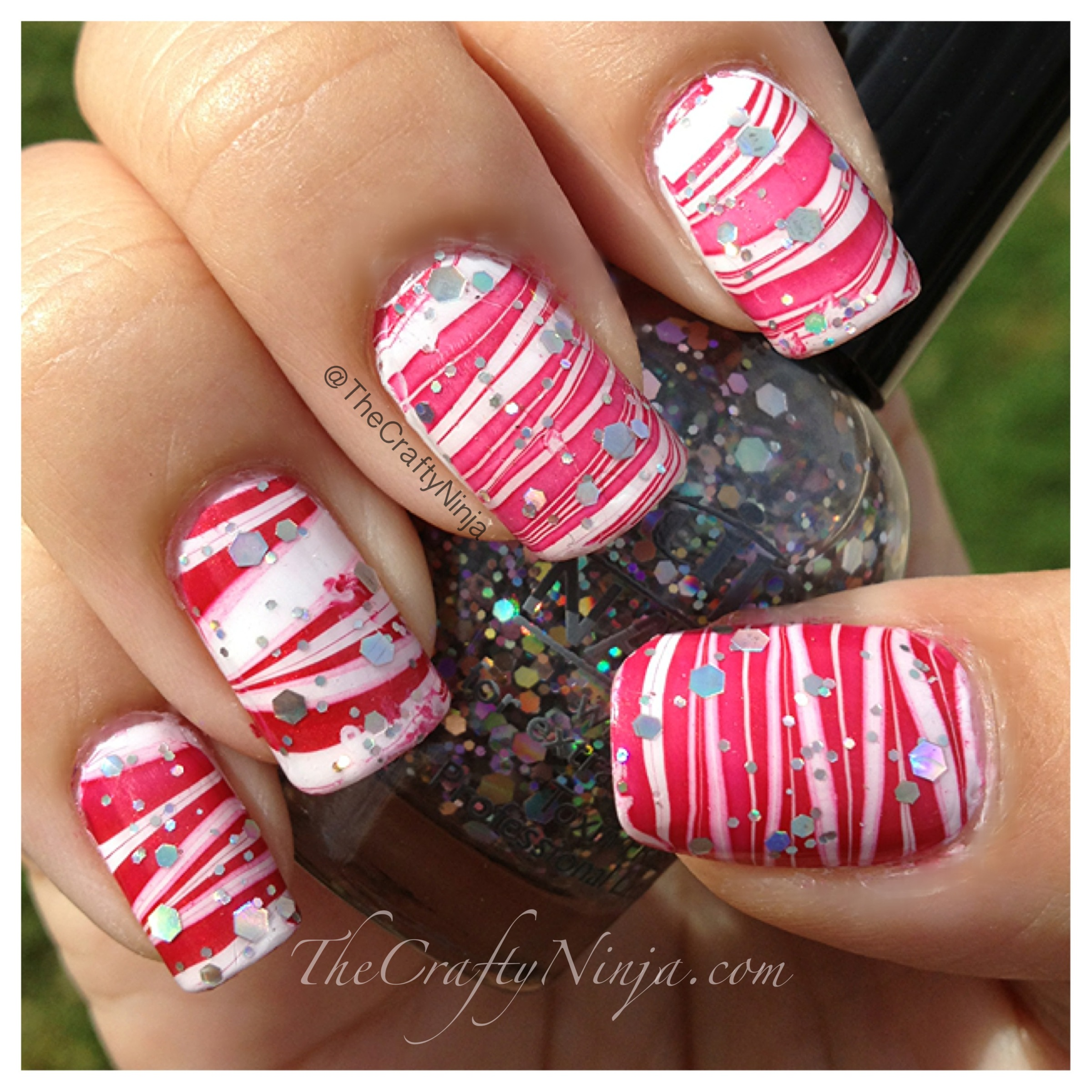 Candy Cane Water Marble Nails   The Crafty Ninja