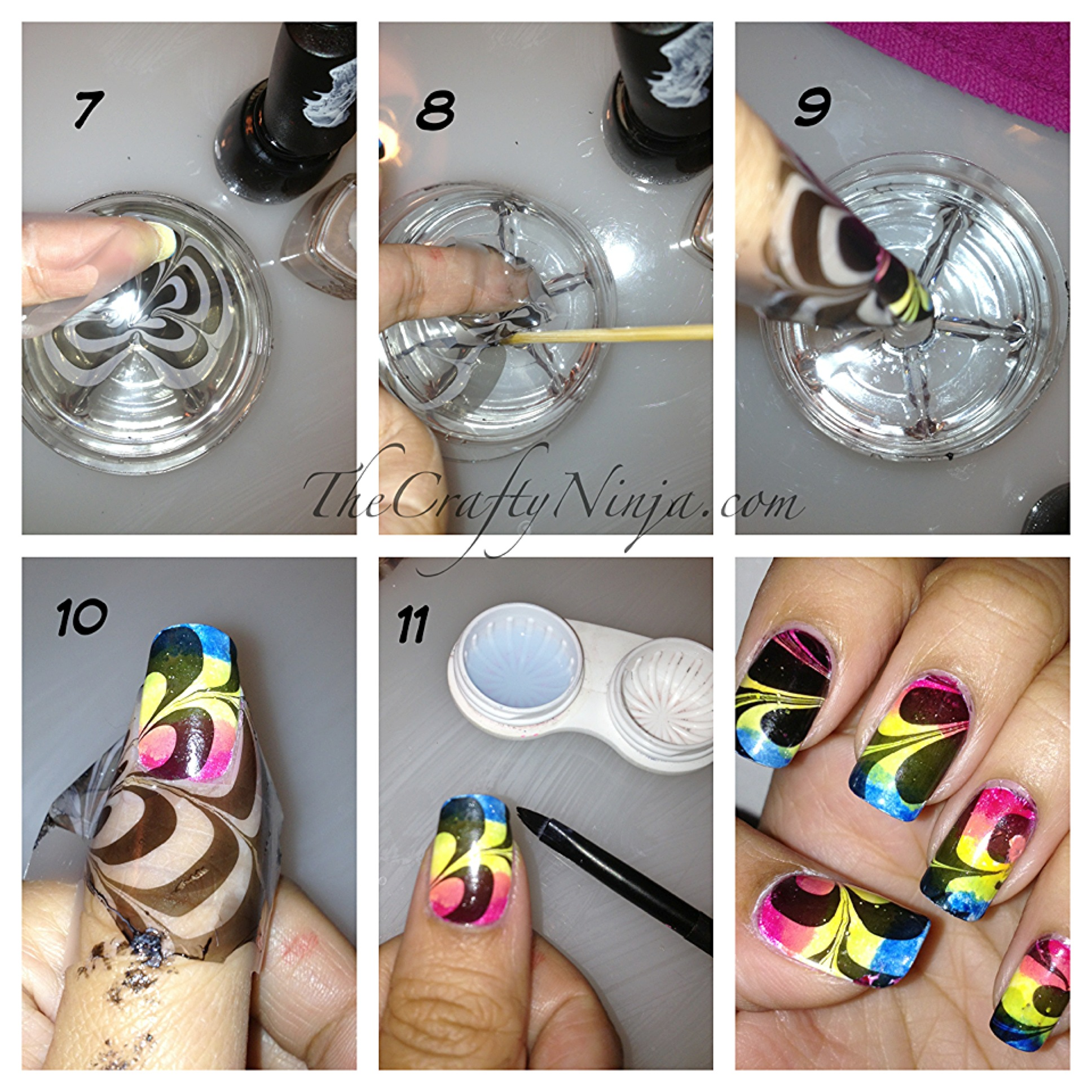 rainbow water marble nails the crafty ninja. Black Bedroom Furniture Sets. Home Design Ideas