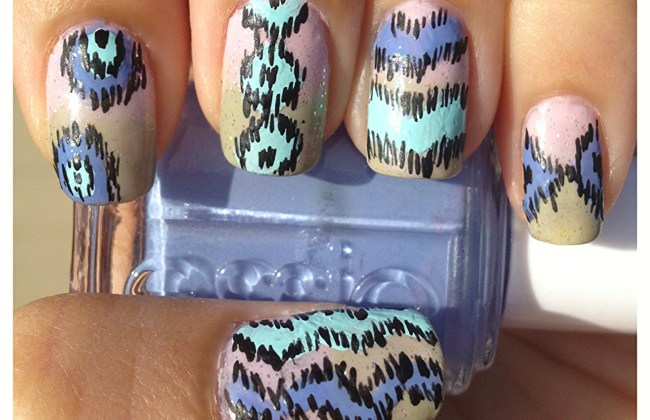 ikat chevron nails