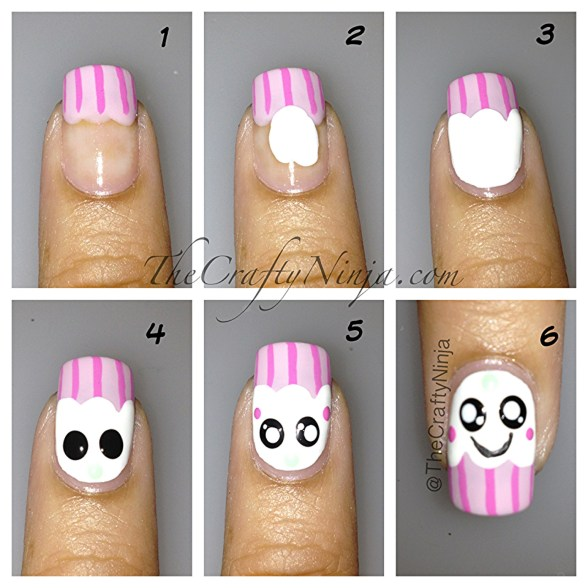 kawaii cupcake nails diy