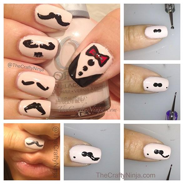 mustache nails diy