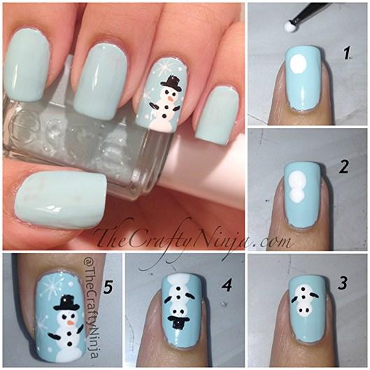 snowman nail tutorial