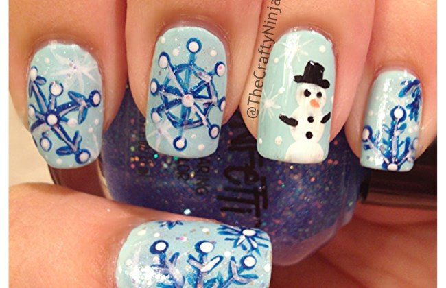 snowman snowflake nails