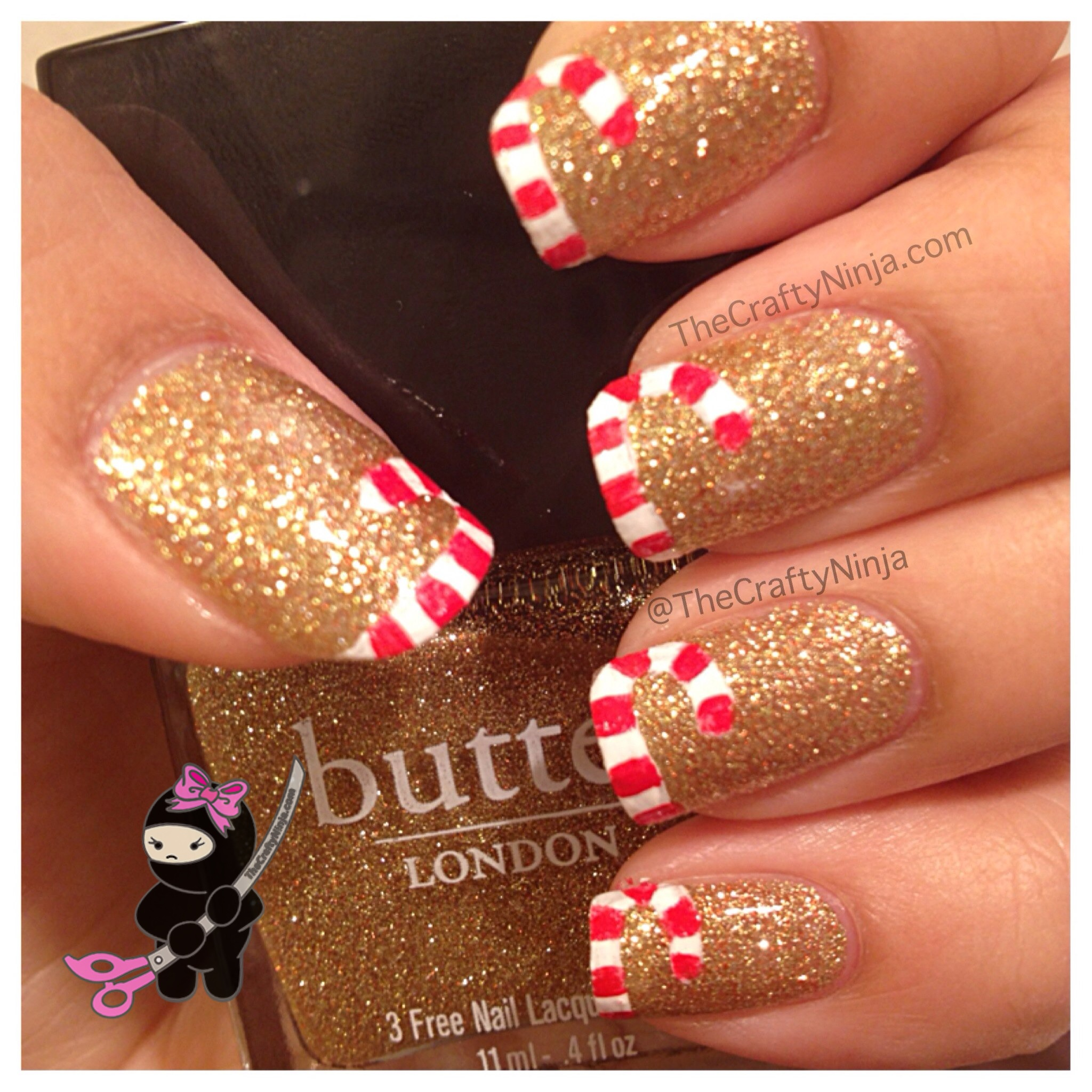 Christmas Nails Tutorial Youtube: Candy Cane French Tip Nails