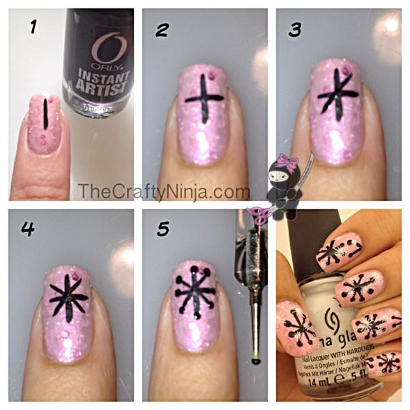 diy snowflake nails